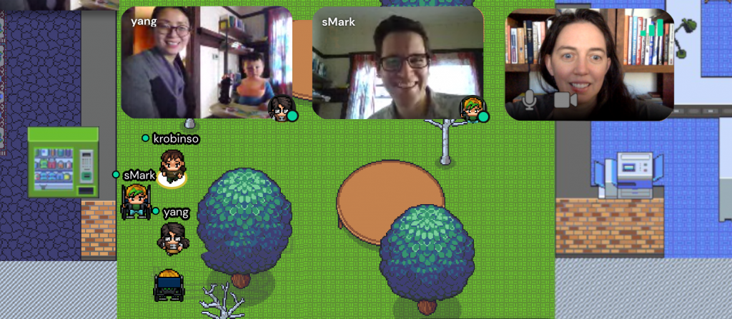 """Image of 3 people hanging out in """"gather"""" online platform, in a virtual East Campus"""